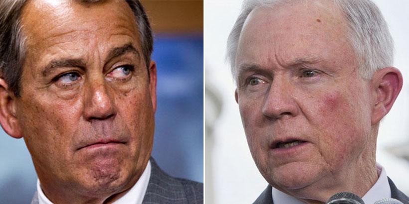 House Speaker John Boehner (left) and Sen. Jeff Sessions (right)