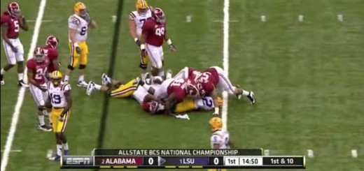 The swarming 2011 Bama defense sacks LSU QB in the BCS National Championship