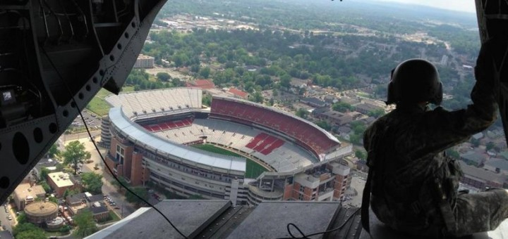 An Army helicopter flies over Bryant-Denny Stadium (Photo: Jeremy Warner)
