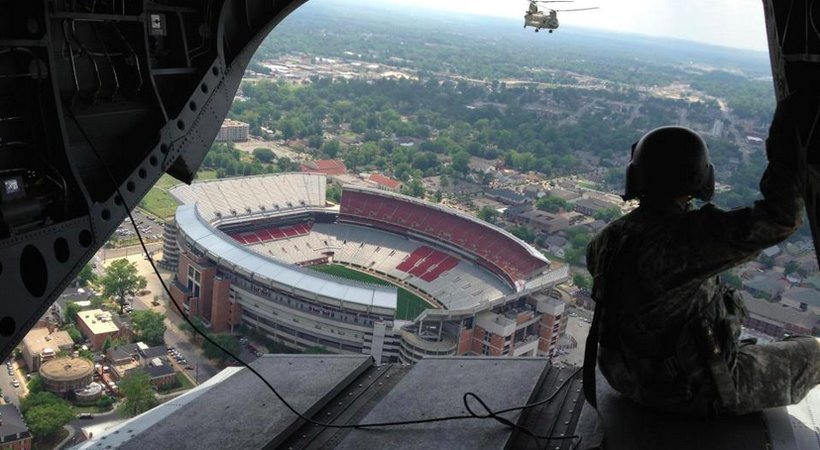 Jordan Thompson flies over Bryant-Denny Stadium (Photo: Jeremy Warner)