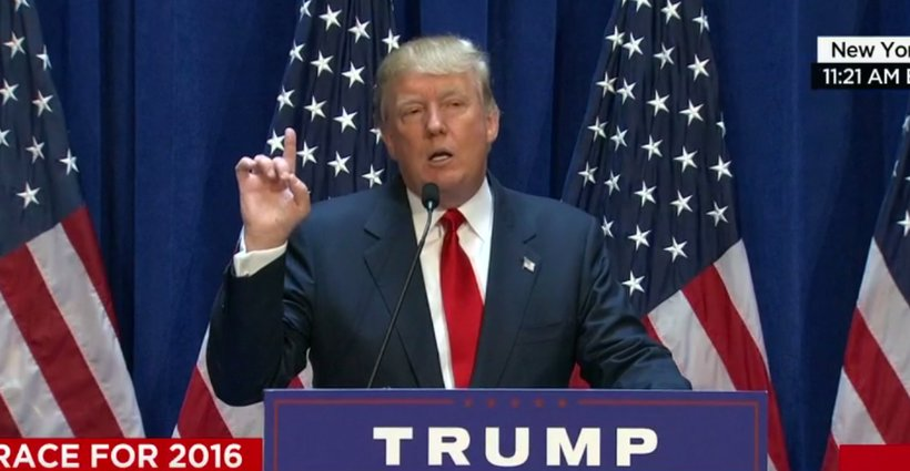 Donald Trump announces he will run for President in 2016. (Photo: Screenshot)