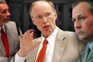 Senate President Pro Tem Del Marsh, Governor Robert Bentley, and House Speaker Mike Hubbard