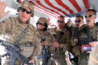 Members of the Alabama National Guard swear the reenlistment oath during a deployment in Afghanistan.