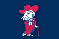 """The Rebel,"" Vestavia Hills High School's mascot, modeled after Ole Miss' former mascot."