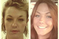 "Left: Ashley Dailey five years ago on her ""last day as a drug addict. Right: Ashley Dailey celebrating five years clean"