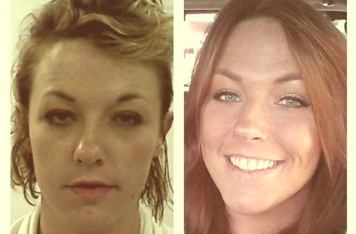 """Left: Ashley Dailey five years ago on her """"last day as a drug addict. Right: Ashley Dailey celebrating five years clean"""