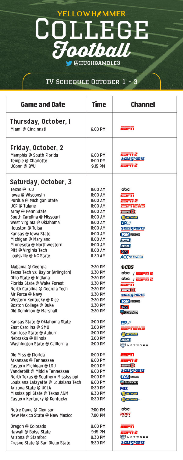 football n tv college football week 9 schedule