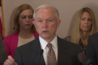 Sens. Jeff Sessions (R-Ala.) and Pat Toomey (R-Penn.) host a press conference on the Thin Blue Line Act (Photo: Screenshot)