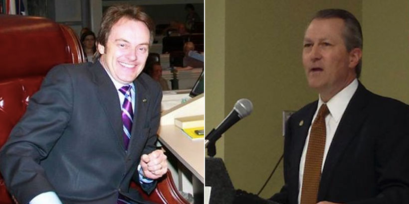 State Rep. Phil Williams (Left) was removed from his committee chairmanship by Alabama House Speaker Mike Hubbard (right)