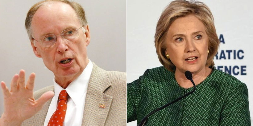 Alabama Gov. Robert Bentley and former Secretary of State Hillary Clinton