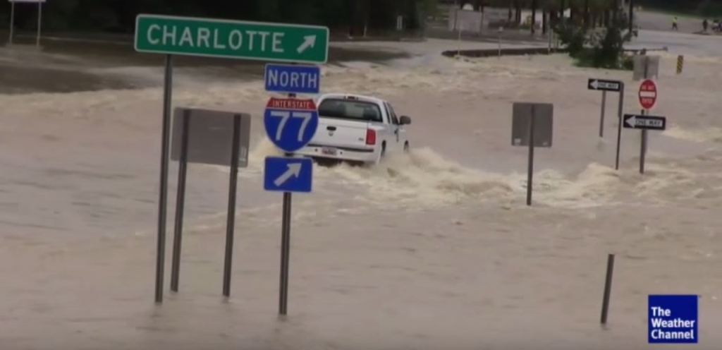 South Carolina after a weekend of historic flooding conditions. (Photo: Screenshot of The Weather Channel Youtube video)