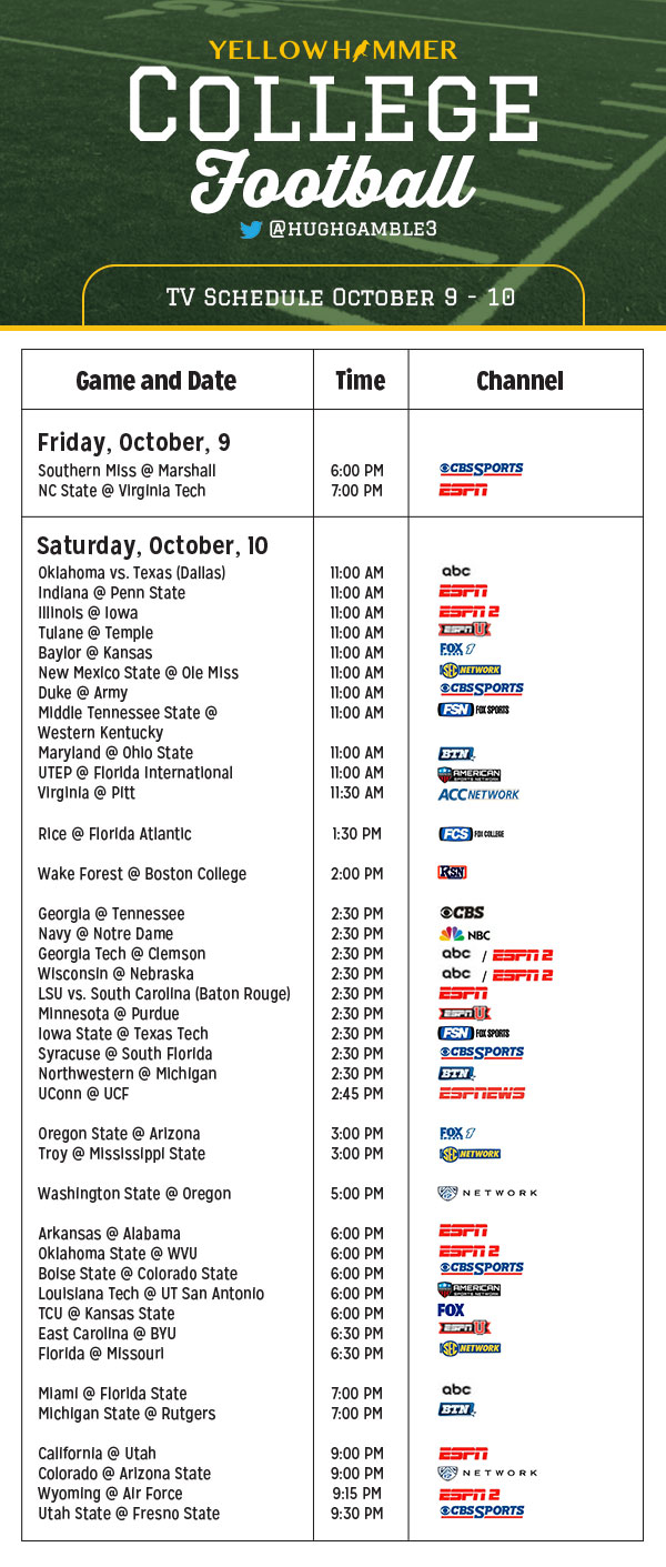 college football schedule october 24 ncaa football games on tv