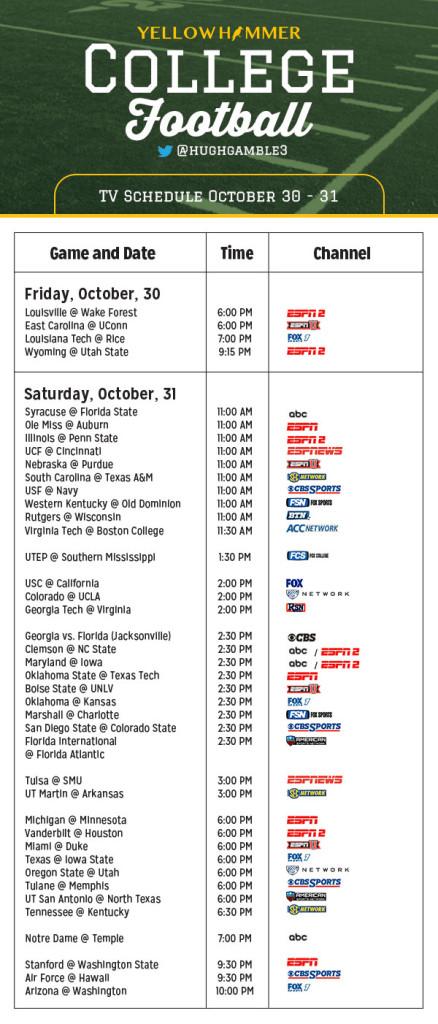 October 31st football schedule