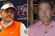 Auburn football coach Gus Malzhan and Alabama football coach Nick Saban