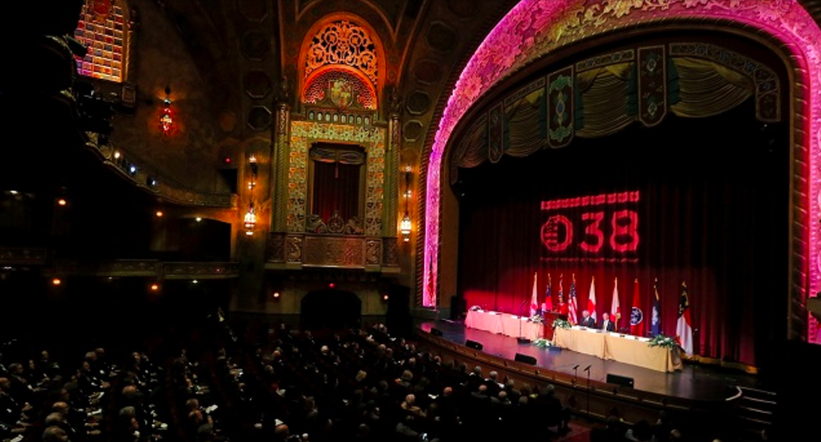 Dr. Condoleezza Rice addresses the SEUS Japan 38 conference at Birmingham's historic Alabama Theatre. (Photo: Jamie Martin/Gov. Robert Bentley's office)