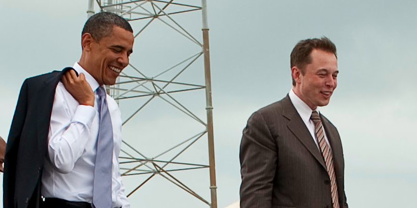 President Barack Obama and Elon Musk, who was one of his largest donors and supporters (Photo: (NASA/Bill Ingalls)
