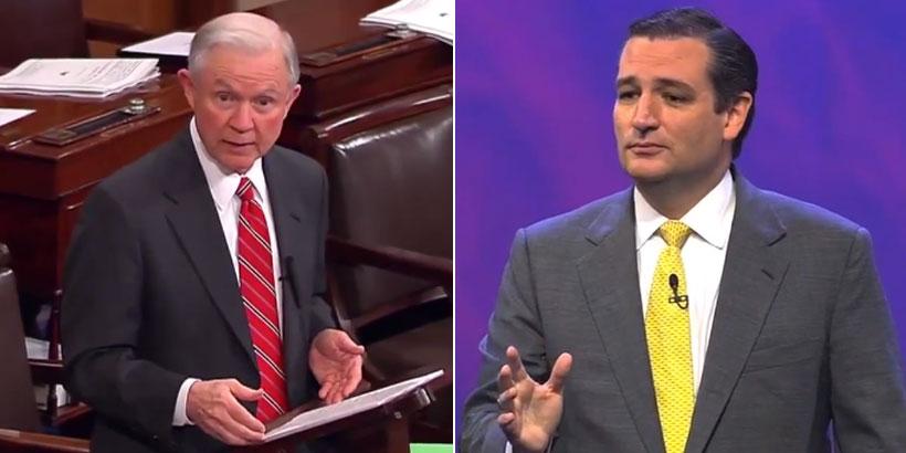 Sen. Jeff Sessions (R-Ala.) and Sen. Ted Cruz (R-Tx.)