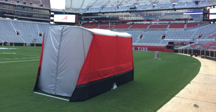 Alabama's sideline tent has been a game-changer for injured players, and could turn out to be a very profitable business for its inventors. (Photo: University of Alabama)