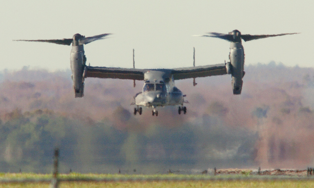 Air Force CV-22, commonly called an Osprey, lands at Maxwell Air Force Base. (Photo: Flickr user Lloyd Gallman)