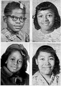 The four girls killed in the bombing. Clockwise from top left, Addie Mae Collins, Cynthia Wesley, Carole Robertson and Carol Denise McNair. (Photo: Wiki)