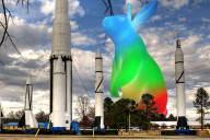 "The Google Fiber ""bunny"" logo at the Huntsville Space and Rocket Center."