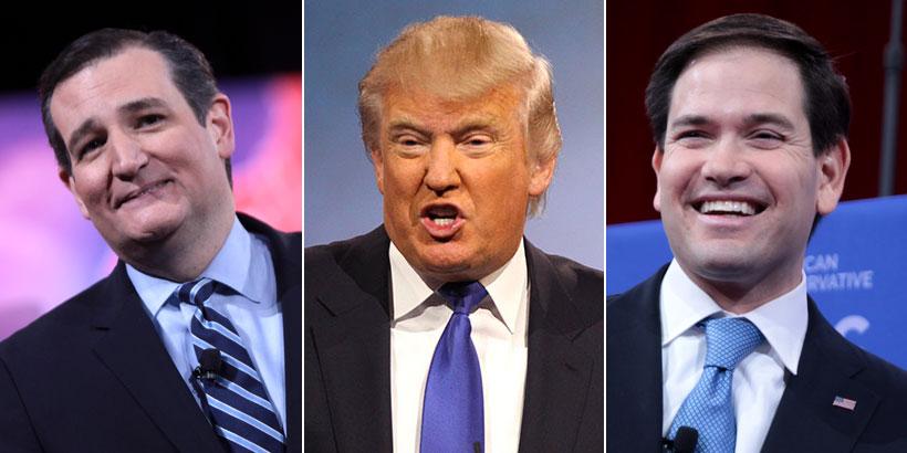 Senator Ted Cruz, Donald J. Trump, and Senator Marco Rubio.