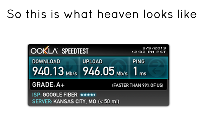 This is what heaven looks like': Internet speed test shows