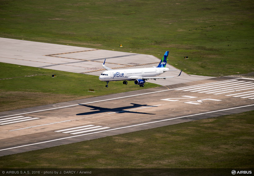 The maiden flight of the first Alabama-made Airbus aircraft begins at Mobile Aeroplex, home to the company's new $600 million production facility. (Image: Airwind via Airbus)