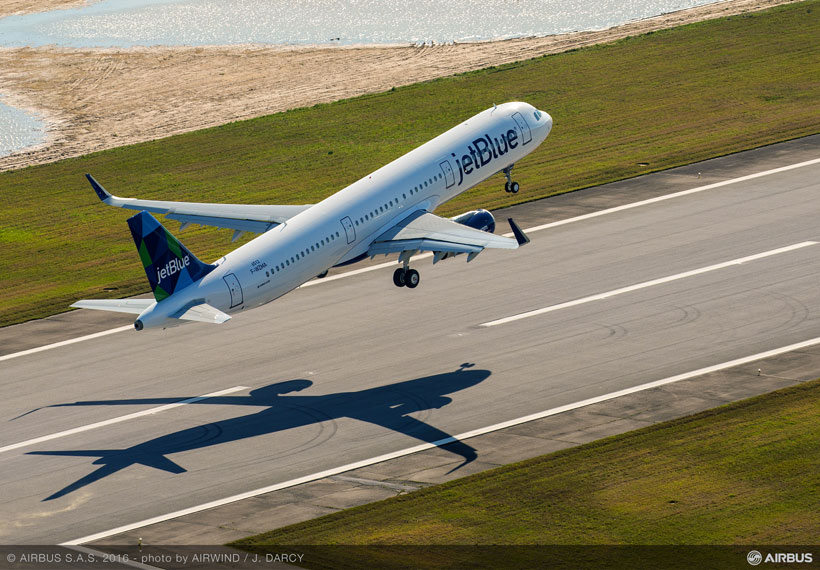 The first Alabama-made Airbus A321 lifts off from the runway at Mobile Aeroplex to start the airplane's initial test flight. (Image: Airwind via Airbus)