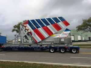 Miller Transfer transports the latest batch of major component assemblies from the Port of Mobile to Airbus' $600 million U.S. Manufacturing Facility at Mobile Aeroplex at Brookley on Thursday, March 24. (Courtesy/Mobile Airport Authority Executive Director Roger Wehner)
