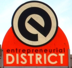 "The Entrepreneurial District signs are still up, but the district around Innovation Depot is being renamed the ""Innovation District."" (Michael Tomberlin/Alabama NewsCenter)"