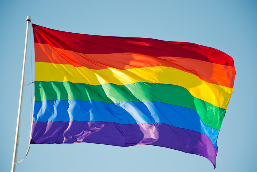 A gay pride flag flies in San Francisco, California.