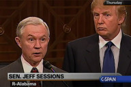 Sen. Jeff Sessions (R-AL) with Donald Trump after a Senate Subcommittee meeting in 2005