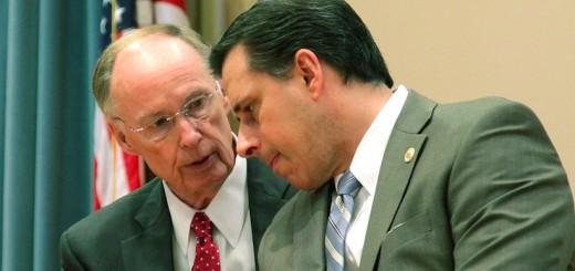 Governor Robert Bentley speaks with then-Secretary of Law Enforcement Spencer Collier (Photo: Governor's Office, Jamie Martin)