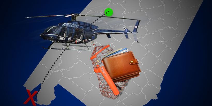 An artist's depiction of the ALEA helicopter bringing Governor Bentley's wallet to the beach.