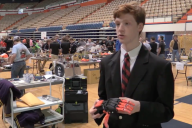 Zach McCleery discusses his project at Auburn's BEST competition
