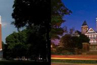 University of Alabama's Denny Chimes (left) and Auburn University's Samford Hall (right)