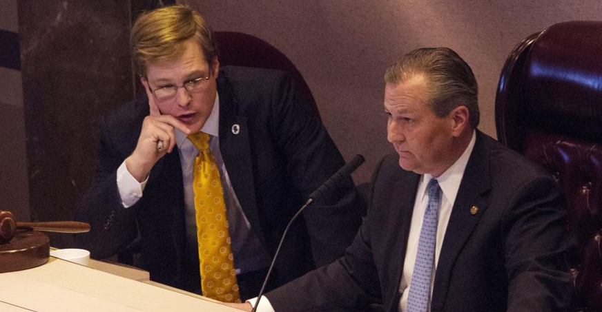 House Speaker Mike Hubbard (right) and then-Chief of Staff Josh Blades on the floor of the Alabama House of Representatives in 2014 (Photo: Butch Dill)