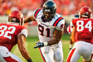 Jeremy Towns in action against Arkansas in 2013, during his time as a standout with the Samford University Bulldogs. (Beth Hall)