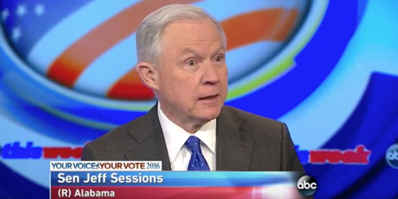 "Sen. Jeff Sessions discusses Trump's past and policies on ABC's ""This Week"" (Photo: Screenshot)"