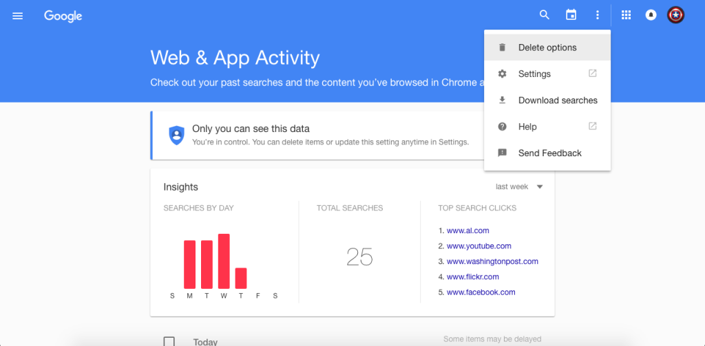 how to delete all web activity on google