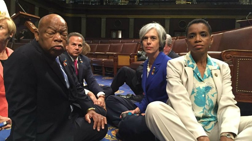 """Democrats stage a """"sit in"""" on the House Floor in an attempt to force a vote on gun control."""