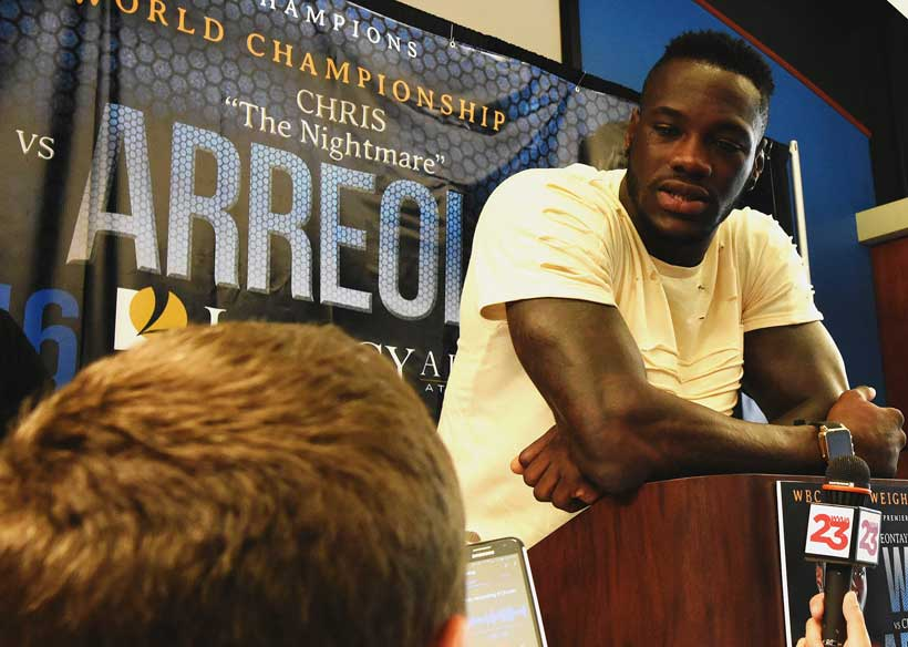 Heavyweight champion Deontay Wilder speaks to the press in Birmingham about defending his title. (Solomon Crenshaw Jr./Alabama NewsCenter)