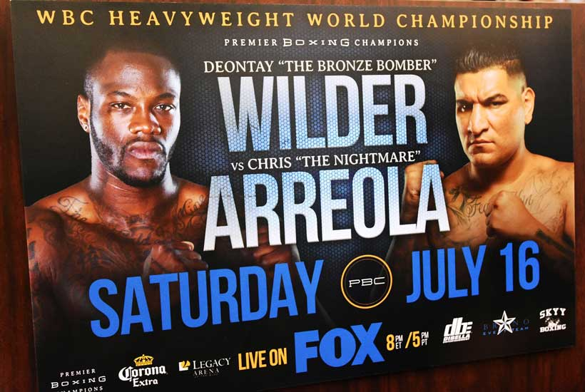 A promotional poster for the July 16 Wilder-Arreola bout. (Solomon Crenshaw Jr./Alabama NewsCenter)
