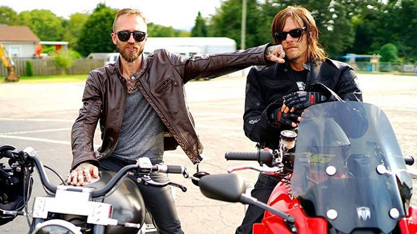 "Jason Paul Michaels, left, on the Confederate Motors Hellcat with Norman Reedus on the Motus MTS. Both motorcycles are built by Birmingham companies and were featured on the AMC series ""Ride with Norman Reedus."" (Left/Right Productions)"