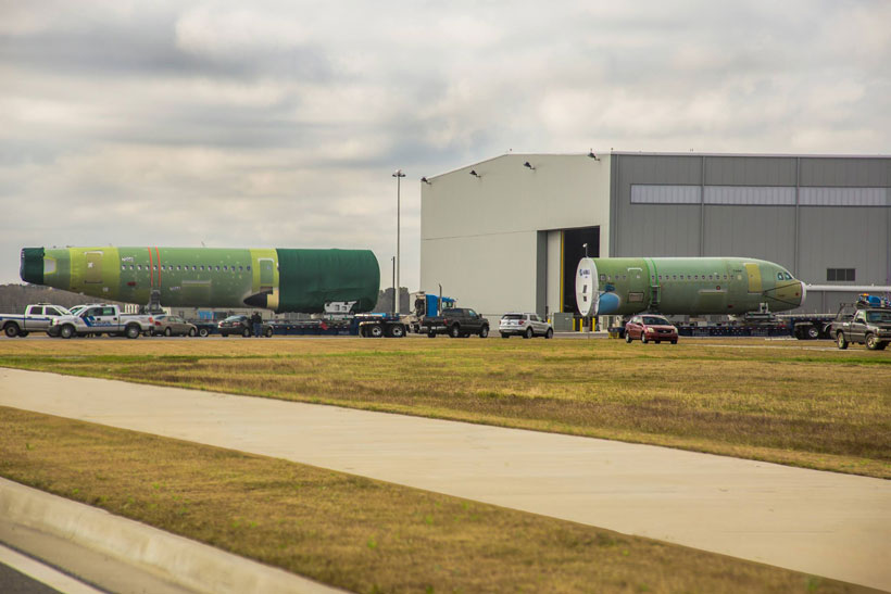 Aircraft components arrive at the Airbus assembly facility at Mobile Aeroplex in Alabama. (Image: Mobile Aeroplex)