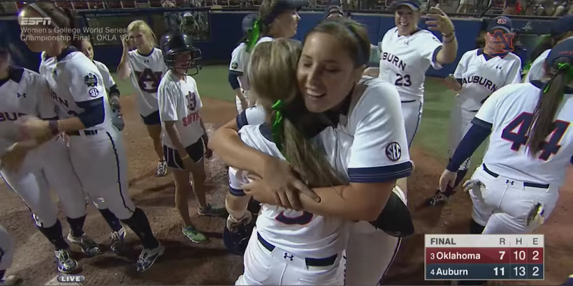 The Auburn Tigers celebrate after their incredible Game 2 victory