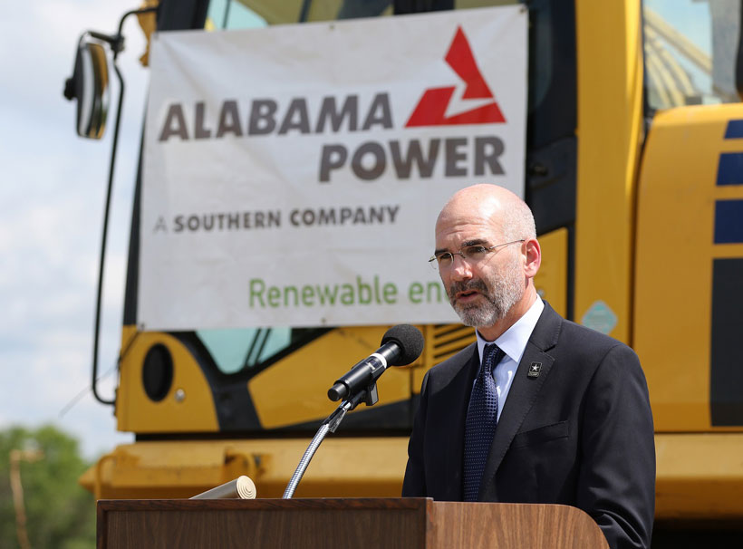 Michael McGhee, executive director Army Office of Energy Initiatives, makes remarks as officials from Alabama Power, the Army and other federal agencies gather at Fort Rucker on Thursday, June 2, 2016, to break ground on the company's second, large-scale solar energy project. (Mike Kittrell/Alabama NewsCenter)