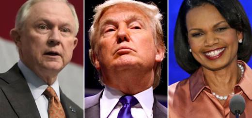 Sen. Jeff Sessions (left), Donald J. Trump (center), and former Secretary of State Condoleezza Rice (right)
