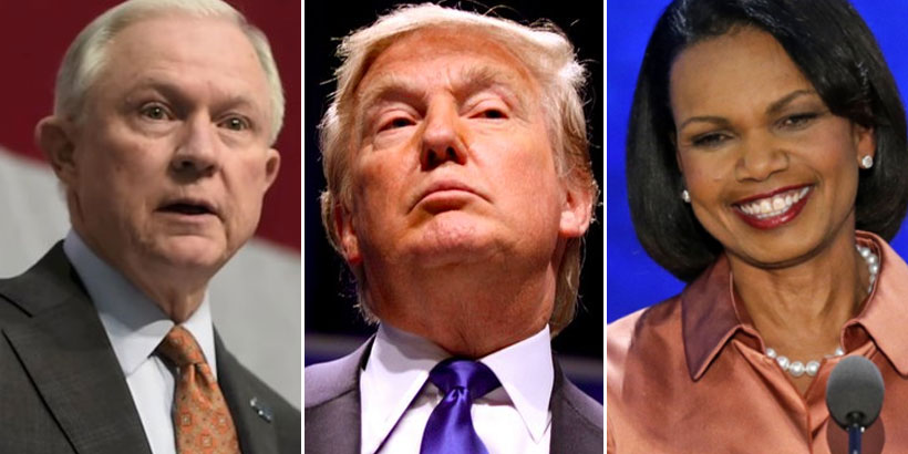 Sen. Jeff Sessions (left), Donald J. Trump (center), and former Secretary of State Condoleezza Rice (right)